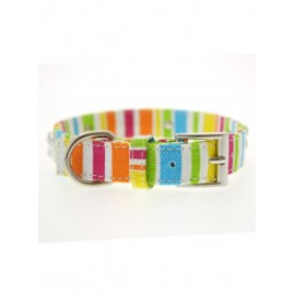 Collier Urban Pup Striped Neon Canvas Diamante Bone