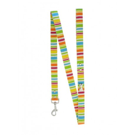 Laisse Urban Pup Striped Neon Canvas Diamante Bone