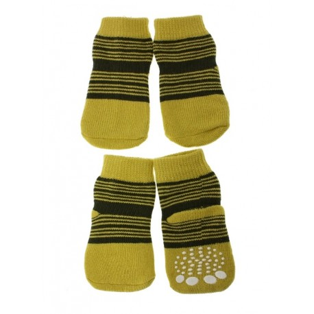 Chaussettes jaunes rayees vertes