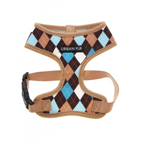 Harnais Urban Pup Brown & Blue Argyle