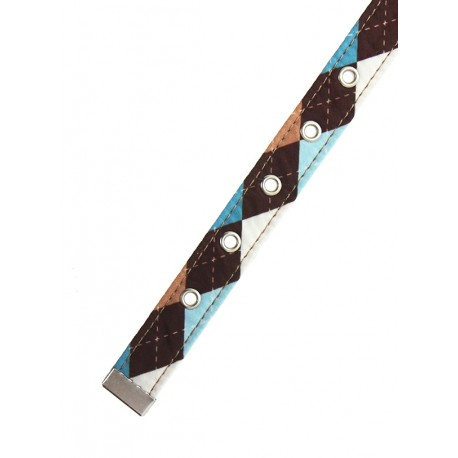 Collier Urban Pup Brown & Blue Argyle