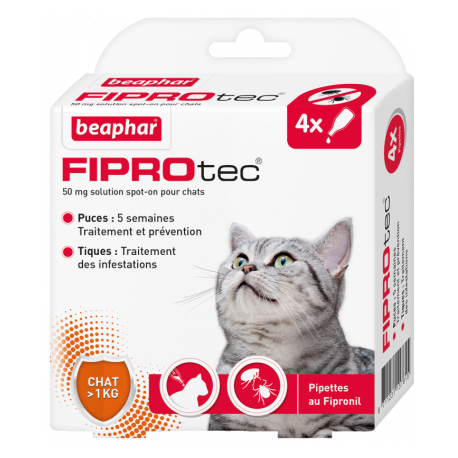 FIPROtec, pipettes antiparasitaires au Fipronil chat - Disponible chez Animalerie.STore