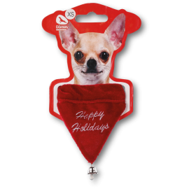 Bandana rouge Happy holidays avec clochette